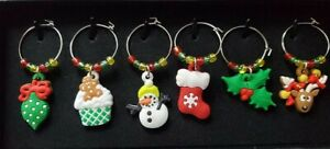 Set of 6 Christmas Wine Glass Charms Pendant Drink Markers 1