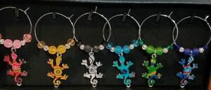 SET OF 6 FUN & UNIQUE GECKO WINE GLASS CHARMS PENDANT DRINK MARKERS