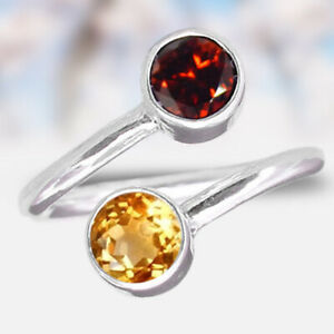 Glamourous Garnet and Citrine Ring Two stone ring 925 Sterling Silver mi4524 $9.99