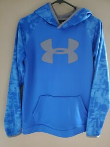 Boys Under Armour Youth Size XL Hoodie ColdGear Blue Logo Loose $12.95
