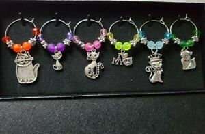 SET OF 6 FANCY AND FUN CAT WINE GLASS CHARMS PENDANTS DRINK MARKERS