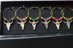 SET OF 6 UNIQUE COW SKULLS WINE GLASS CHARMS PENDANTS DRINK MARKERS