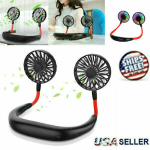 Portable Neck Fan Hanging Sport Lazy Neckband USB Rechargeable LED Mini Personal