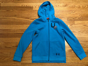 Under Armour Zippered Jacket Hoodie Blue Active sz 8 10 Medium $9.75