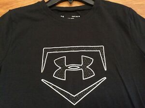 NWT UNDER ARMOUR HEAT GEAR SHIRT SILVER BLACK BOYS SIZE YOUTH LARGE 14 16 $12.99