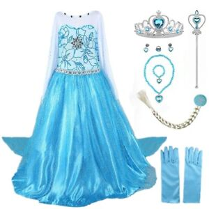 2018 Elsa Costume Princess Party Girls Costume Dress with Accessories Set 2 10Y