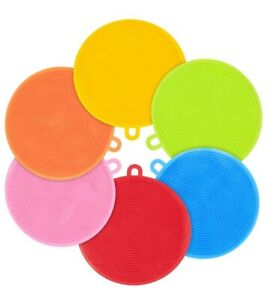 Silicone Dish Sponges 6 Pack Food Grade Reusable Sponges for Dishes, Heat Resi