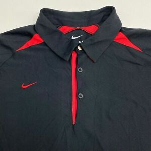 Nike Dri Fit Golf Polo Shirt Men's 2XL XXL Short Sleeve Black Red Trim Polyester $18.95
