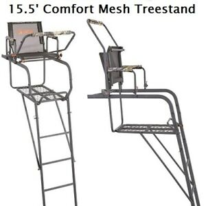Treestand 15.5#x27; Ultra Comfort Deer Hunting Ladder Stand Heavy Duty With Harness