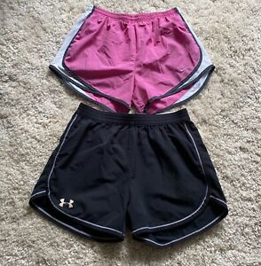 NIKE DRI FIT & Under Armour LOT OF 2 Women's Brief Lined Running Shorts Size Med $13.00