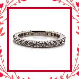 Diamond Designs 14 Kt White Gold Diamond Eternity Wedding Band 0.81CTW Size 6.75
