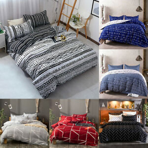 3Pcs Duvet Cover Set Printed Soft Comforter Cover w Pillow Sham Full Queen King