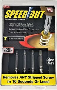 SPEED OUT TITANIUM remove DAMAGED SCREW EXTRACTOR 4PC SET no drill As Seen On TV