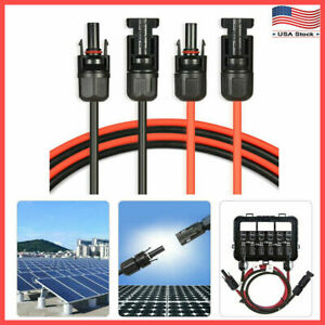 Solar Panel Cable Wire Pair Black Red w MC4 Connector 10 AWG 12 AWG 14 AWG