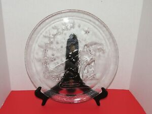 13quot; Christmas Glass Serving Plate Santa amp; Sleigh