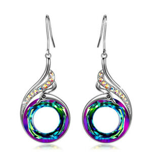 Gorgeous 925 Silver Drop Earrings for Women Crystal Jewelry A Pair set
