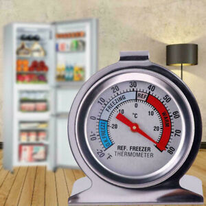 Refrigerator Freezer Thermometer Fridge DIAL Type Stainless Steel Hang Stand USA $4.99
