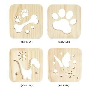 Simple Solid Wood Craft Decoration Cartoon Wooden LED Night Light with USB Cable
