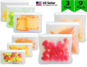 Reusable Silicone Food Fresh Bag Seal Storage Container Freezer Ziplock 9Pack