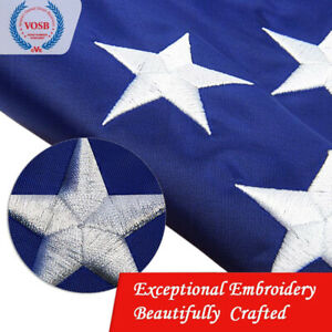 6X10 Ft USA American Flag US EMBROIDERED Stars Sewn Stripes Brass Grommets
