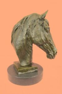 Horse Lovers Real Bronze Horses Head Bust Sculpture Statue Equestrian Decorative $219.00
