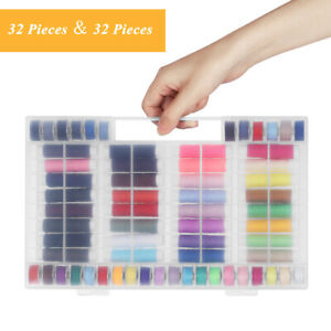64Pcs Small Sewing Thread Spools amp; Bobbins with Case for Portable Sewing Machine $19.99