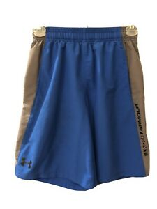 Boys Under Armour Shorts Blue W gray Stripe Loose Fit YM $6.99