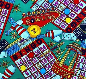 1 2 Yard Cotton Quilting Fabric Bingo Bowling Dominos in Bright Bold Colors $3.75