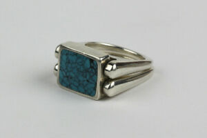 Signed J Sterling Silver Turquoise and Tigers Eye Reversible Flip Ring Siz... $59.00