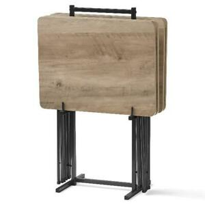 TV Folding Table Set 5 Piece Modern Wood Snack Dinner Tray w Stand Rustic Gray $63.22