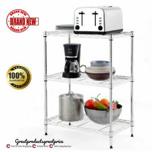 3 Tier Wire Shelving Unit Adjustable Metal Shelf Rack Kitchen Storage Organizer