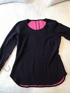 LULULEMON Runder Under Womens Long Sleeve Reversible Top 8 10 Pink Black Purple $38.00