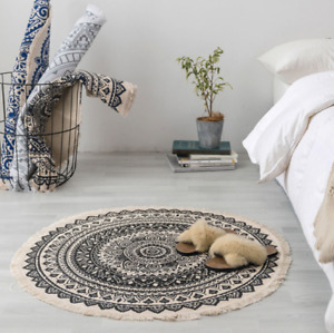 Carpet 3D Printed Boho Style Tassel Round Rug Hand Woven National Classic Tapest
