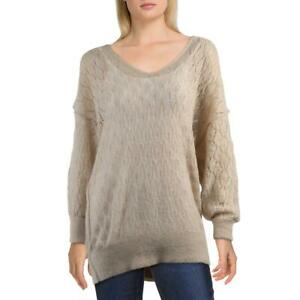 Free People Say Hello Women#x27;s Open Stitch Oversized V Neck Pullover Tunic