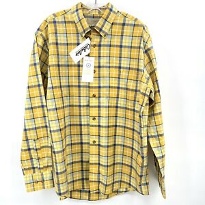 Cabelas Mens Nanotex Wrinkle Free Long Sleeve Button Down Plaid Shirt Large NEW