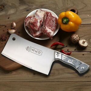 Kitchen 7 Inch Cleaver Knife Chopper Butcher Stainless Steel for Home Restaurant $11.99