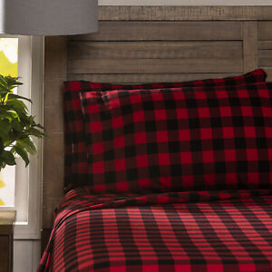 Bed Sheet Set 4ps Soft Flannel Cotton Check Plaid Red Wildlife Striped Queen