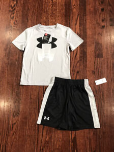 New Boys Under Armour Gray Black Shirt Shorts Set Size 6 $15.00