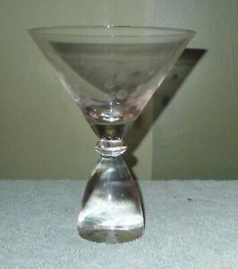 Heavy Glass Base MARTINI COCKTAIL GLASS Bar Ware Etched Polka Dot Design $15.25