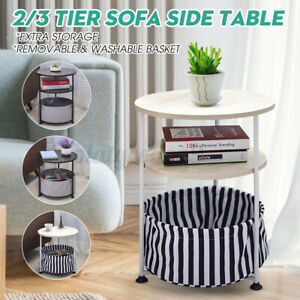 Bedside Table Sofa Side End Table Nightstand Coffee Snack Tray w Washable Cloth