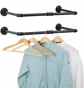 Set of 2 Wall Mounted Clothes Rack Pipe Coat Hanger Garment Racks Cloth Storage