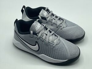 Nike Youth Size 6Y Team Hustle Quick 2 Kids Sneakers Grey White Black AT5298 $39.96