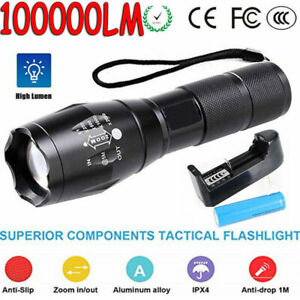 2020 New 100000Lumen Flashlight Bright Headlamp Zoomable with Battery Camping