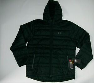 UNDER ARMOUR Black Armour DOWN INSULATED Winter Hooded JACKET Mens XXL 2XL NEW $131.99