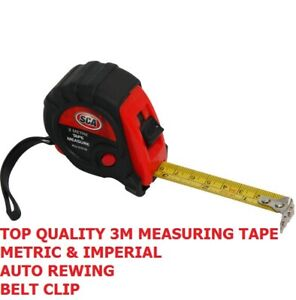 TOP QUALITY MEASURING TAPE INCH CM FOOT METRE SIZE REWIND HOLD TOOL HAND POWER