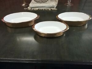 Set 3 Apilco Charmart Oval Gold Ribbed Souffle Oven Dishes France