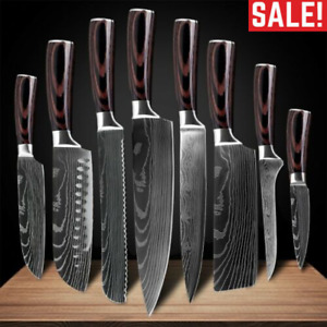 8Pcs Kitchen Knife Set Home Damascus Pattern StainlessSteel Chef Knife Best Gift