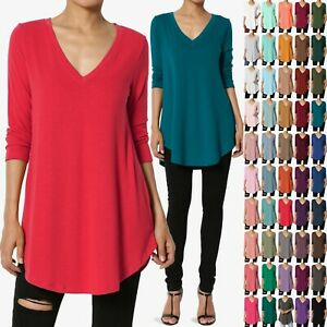 TheMogan S 3XL Essential 3 4 Sleeve V Neck Draped Jersey Knit Rounded Hem Top