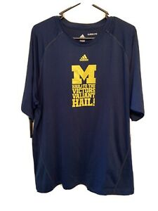 Men's Adidas Michigan Wolverines Dry Fit Shirt Size XL HAIL TO THE VICTORS $12.99