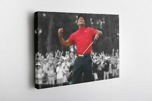 Tiger Woods Poster Masters 2019 Golf Canvas Wall Art Home Decor Framed Art